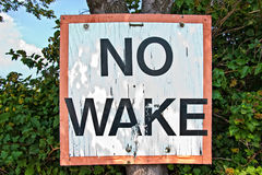 No Wake. Sign on the tree royalty free stock photography