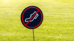 No walking grass sign Royalty Free Stock Photo