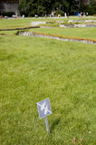 No Walking sign on Lawn. Forbidden grass featuring a No Walking sign and tourists in the background stock photography