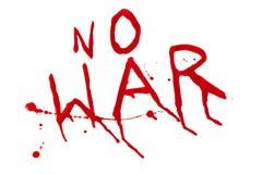 No war. Inscription no war bloody flow splash splatter on white background Stock Photos