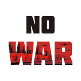 No war banner. The antiwar poster with the image of the city destroyed by bombings.  Vector illustration Stock Images