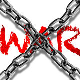 No War. Metal chain cross on top of wording war Stock Images