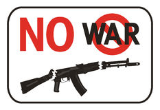 No War placard. Isolated on a white background Stock Photography