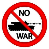 No war sign with modern tank. On white background Royalty Free Stock Image