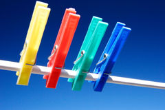 No washing today. Clothes pegs on clothes line Royalty Free Stock Photography