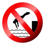 No water jumping sign isolated on white Royalty Free Stock Images