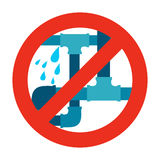 No water leak, pipe icon sign. Royalty Free Stock Photo