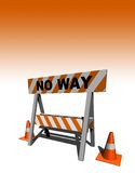 No way!. Construction and caution sign - 3d illustration Royalty Free Stock Photography
