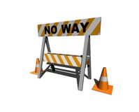 No way!. Construction and caution sign with traffic cones - 3d illustration Stock Photos