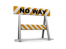 No way!. Construction and caution sign - 3d illustration Stock Photo