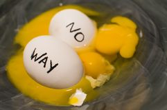 No Way. Disbelief and uncertainty in challenging times symbolic eggs with words written on them floating in broken egg yolk whites and shells what to do Royalty Free Stock Images