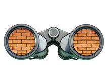 No Way Forward. A pair of binoculars with a brick wall apparently reflected in the lenses - isolated over pure white Stock Photos
