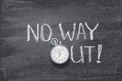 No way out watch. No way out exclamation written on chalkboard with vintage precise stopwatch royalty free stock photo