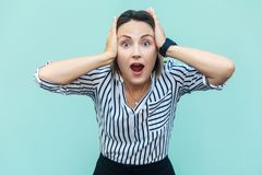 No way! Surprised business woman with opened mouth and big eyes. Royalty Free Stock Photo