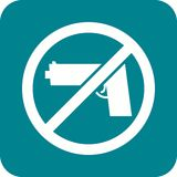 No Weapons. No, pistol, guns icon vector image. Can also be used for warning caution. Suitable for use on web apps, mobile apps and print media Royalty Free Stock Photography