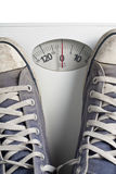 No Weight. Shoes on a Scales Showing a Zero Stock Photo