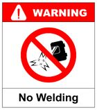 No welding sign. Vector illustration isolated on white. Welding prohibited icon, red forbidden safety symbol. Black sign of weldin Royalty Free Stock Photos
