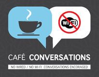 No wifi coffee mug concept illustration. No Wired, No wi-fi, conversations encoraged Stock Photo