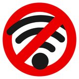 No wifi prohibition sign vector illustration. Flat style design. Colorful graphics Royalty Free Stock Image
