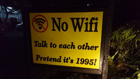 No wifi, talk to each other. No wifi signboard of a restaurant in Bagan, Myanmar Royalty Free Stock Images