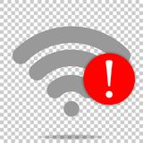 No WiFi vector icon on transparent  background. Wi-Fi logo illus. Tration. Lack of internet Stock Images