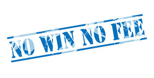 No win no fee blue stamp. Isolated on white background Royalty Free Stock Images