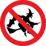 No witches sign. No witches allowed sign Stock Photo