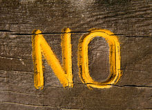 No on Wood Royalty Free Stock Photography