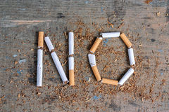 No word of a cigarette. Antismoking background Royalty Free Stock Photo