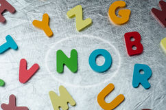 NO word with colourful alphabet made of wooden. Business Idea co Stock Photos