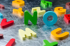 NO word with colourful alphabet made of wooden. Business Idea co Royalty Free Stock Image