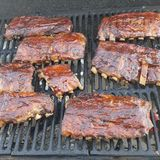 No words needed. Smoked sauced pork ribs mmmm stock photos