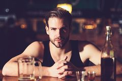 No work after drinking. Alcohol addiction and bad habit. Alcohol addict with beer mug. Man drinker in pub. Handsome man royalty free stock images