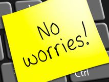 No Worries Represents Being Calm 3d Illustration. No Worries Note Represents Being Calm 3d Illustration Stock Image