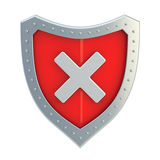 No x cross mark sign over a shield Royalty Free Stock Photo