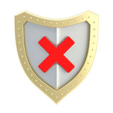 No x cross mark sign over a shield Royalty Free Stock Photography