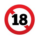 No 18 years old sign. Adults content icon. Red prohibition sign. Stop symbol.  illustration Royalty Free Stock Image