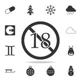 No 18 years old ,Under eighteen sign icon. Detailed set of web icons. Premium quality graphic design. One of the collection icons. For websites, web design Stock Photography