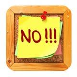 NO!!!. Yellow Sticker on Bulletin. Stock Photos