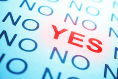 NO and YES text Stock Images