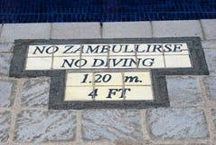No Zambullirse No Diving sign warning Stock Photo
