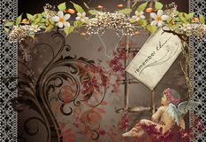No3 do cartão do vintage Imagens de Stock Royalty Free