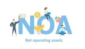 NOA, Net Operating Assets. Concept with keywords, letters and icons. Flat vector illustration. Isolated on white vector illustration