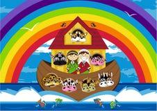 Noah и ковчег с животными Стоковое Изображение