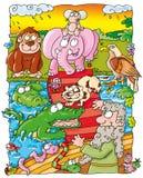 Noah, animais escala sobre Imagens de Stock Royalty Free