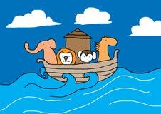 Noah ark. Cartoon Noah ark on the sea Royalty Free Stock Photo