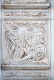 The Noah elation. Relief on portal of Saint Petronius Basilica in Bologna, Italy Royalty Free Stock Images