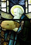 Noah en zijn bak in gebrandschilderd glas stock afbeelding
