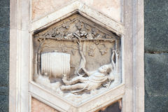 Noah, Florence Cathedral. Noah by Collaborator of Andrea Pisano, 1334-36., Relief on Giotto Campanile of Cattedrale di Santa Maria del Fiore Cathedral of Saint stock image