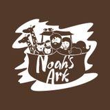Noah, hans familj och djur i tillflykten royaltyfri illustrationer